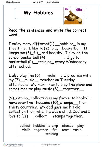 My Hobbies English Reading Worksheet – English Treasure Trove