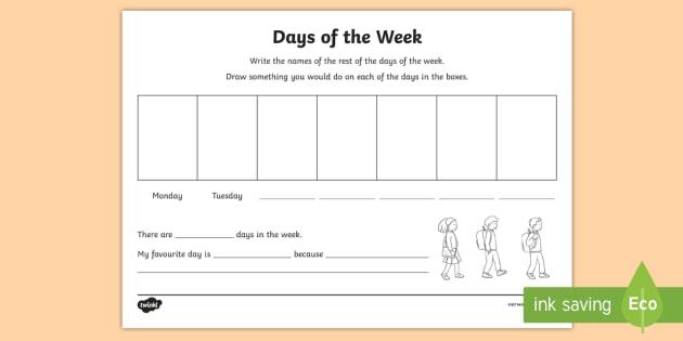 Ni Ks1 Numeracy Days Of The Week Worksheet   Worksheet