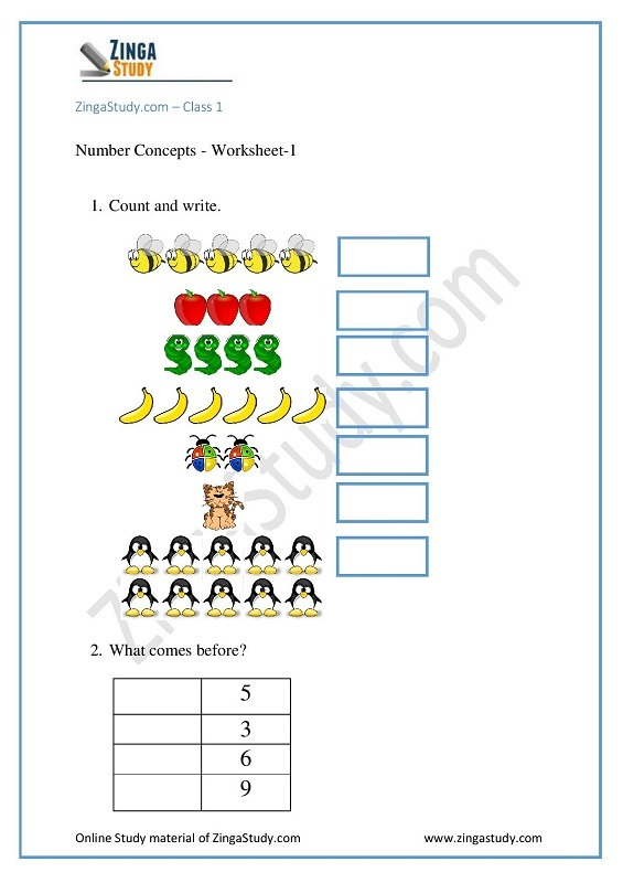 Worksheet For Grade 1 Maths To Practice Your Concepts For Free
