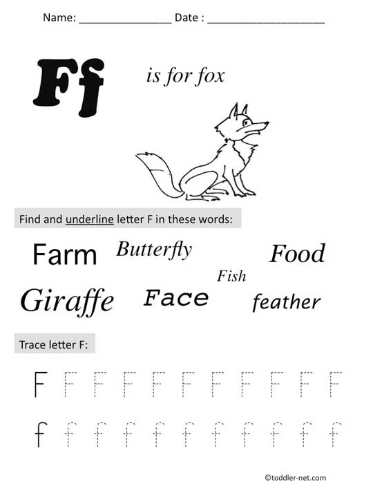 Free Printable Letter F Preschool Worksheet