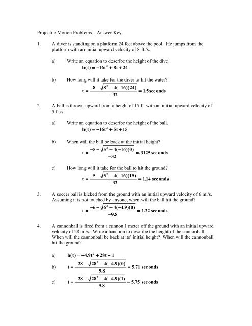 Projectile Motion Problems – Answer Key  1  A Diver Is Standing