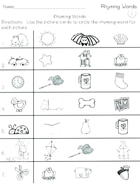 Rhyming Words Worksheets For Grade 1 Worksheet Picture Cards With