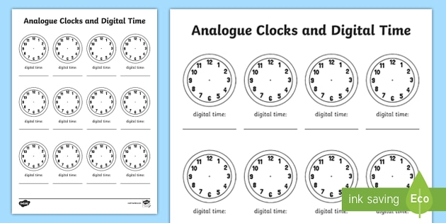 Analogue Clock And Digital Time Worksheet