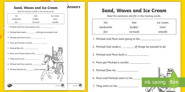 Sand, Waves And Ice Cream Fill In The Blanks Worksheet   Worksheet