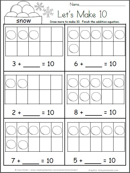 Free Kindergarten Winter Math Worksheets