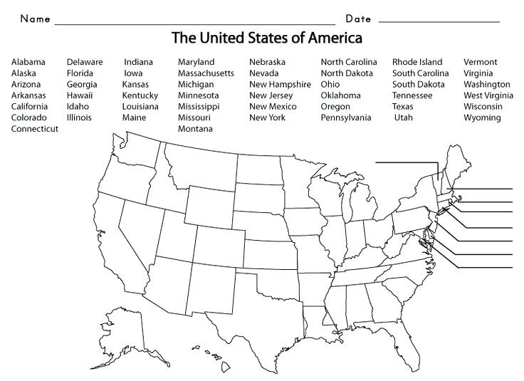 States And Capitals Blank Map Quiz