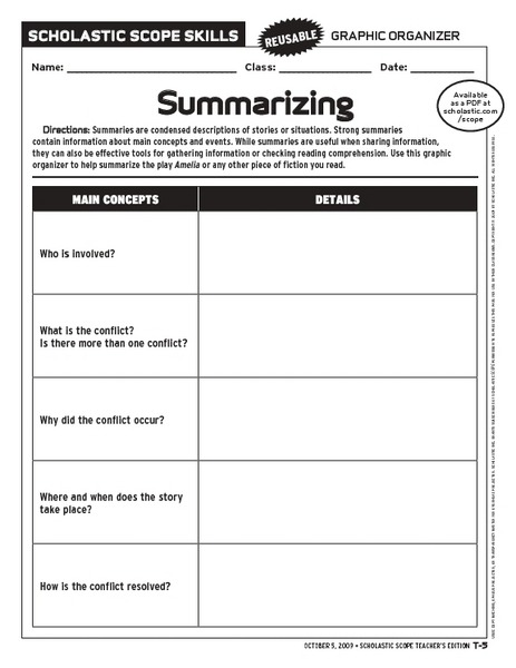 Summary Worksheet 4th Grade Worksheets For All