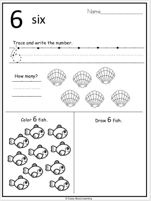 Summer Kindergarten Number Worksheets