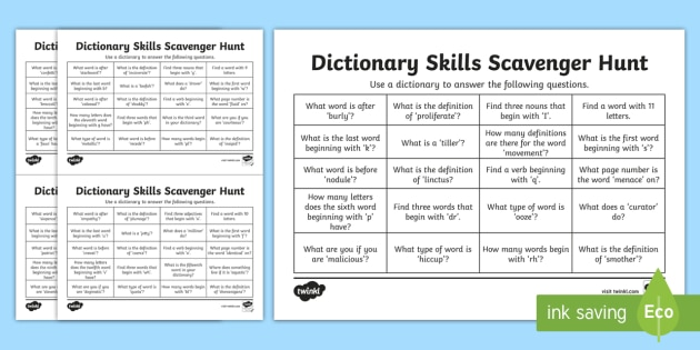 Using A Dictionary Scavenger Hunt Worksheet