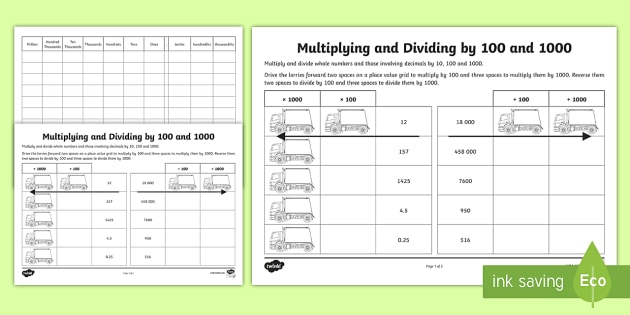 Multiplying And Dividing By 100 And 1000 Worksheet   Worksheet
