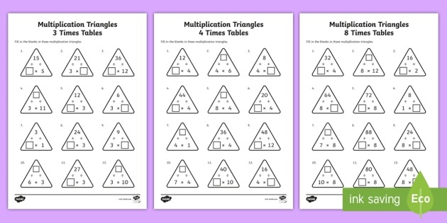 Multiplication Triangles 3, 4 And 8 Times Tables Worksheets