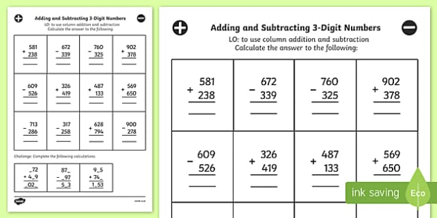 Adding Subtracting 3 Digit Numbers Column Mixed Worksheet Year 3