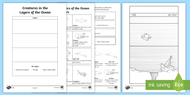 World Oceans Day Creatures In The Layers Of The Ocean Read And Draw