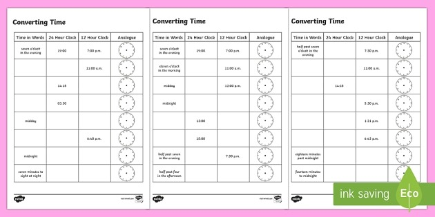 Converting Time Worksheet   Worksheets