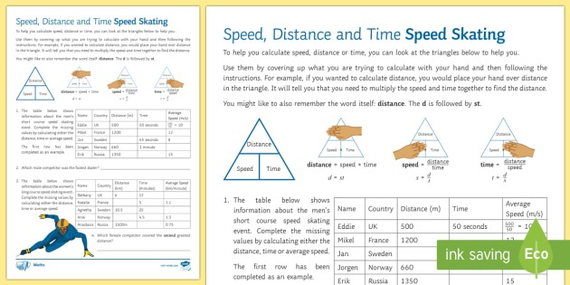 Speed, Distance And Time  Speed Skating Low Ability Worksheet