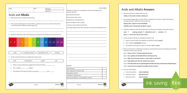 Ks3 Acids And Alkalis Worksheet