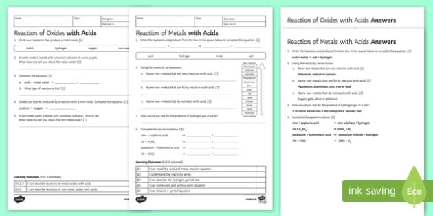 Ks3 Reactions With Acids Homework Worksheet   Worksheet