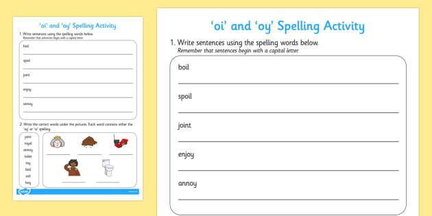 Oi' And 'oy' Words Worksheet