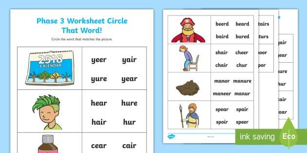 Ear', 'air' And 'ure' Circle That Word Worksheet