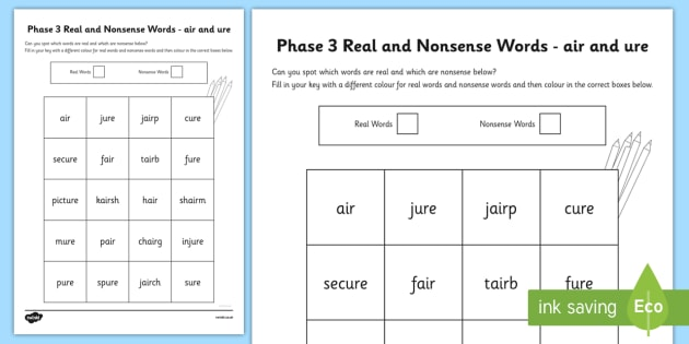 Phase 3 Air And Ure Colour By Phoneme Real And Nonsense Words