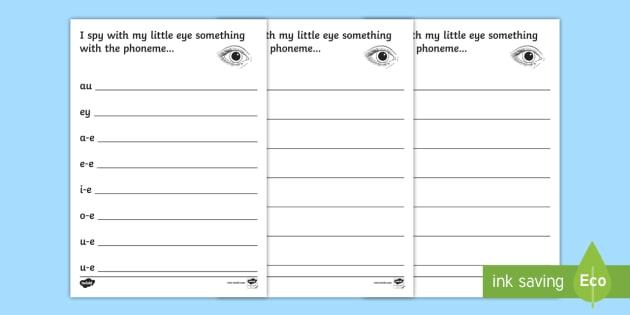 Phase 5 Phoneme Hunt Worksheet   Worksheet