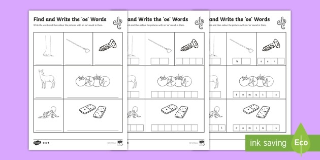 Find And Write The Oe Words Differentiated Worksheet   Worksheets