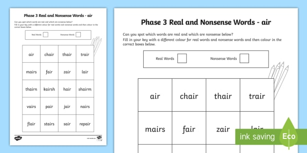 Phase 3 Air Colour By Phoneme Real And Nonsense Words Worksheet