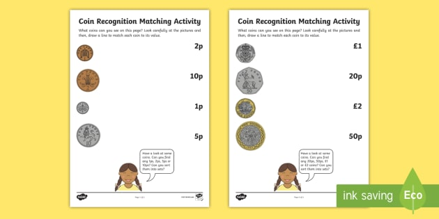 Coin Recognition Matching Worksheets