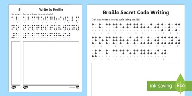 Write In Braille Worksheet   Worksheets