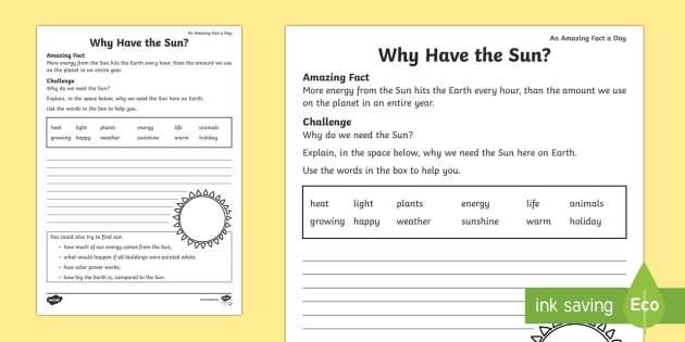 Why Have The Sun  Worksheet   Worksheet