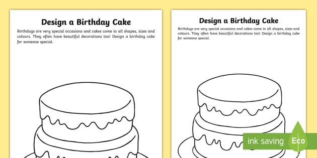 Design A Birthday Cake Worksheet