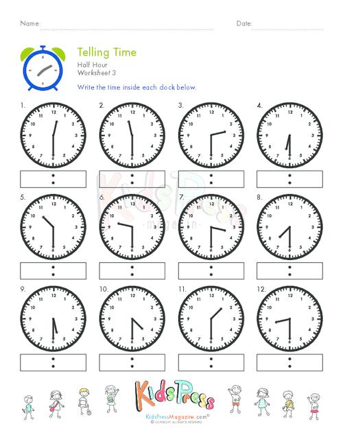 Telling Time Half Hour Worksheet   3