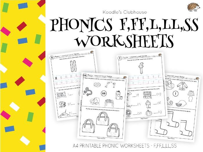 Phonics F,ff,l,ll,ss Worksheets By Koodlesch