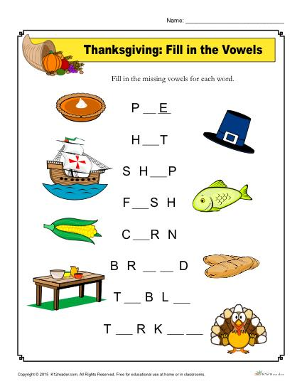 Thanksgiving Worksheet Activity