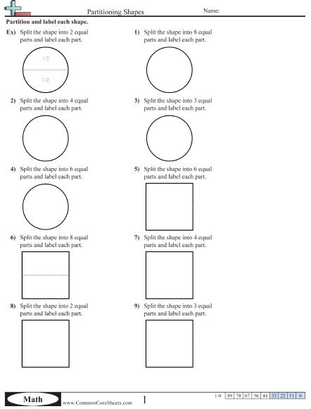 Partitioning Shapes Worksheet