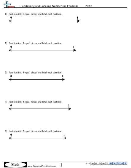 Partitioning And Labeling Numberline Fractions Worksheet