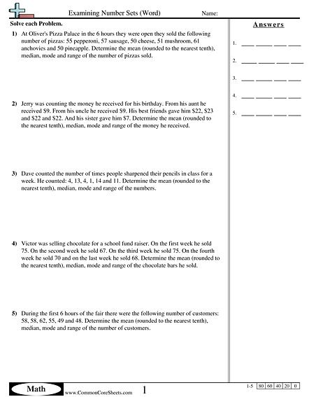 Mean Median Mode & Range Worksheets