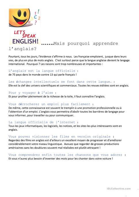 Why Learn English  Worksheet