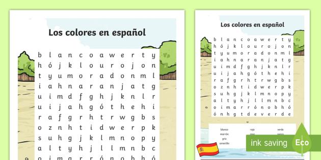 Worksheet Spanish Colours