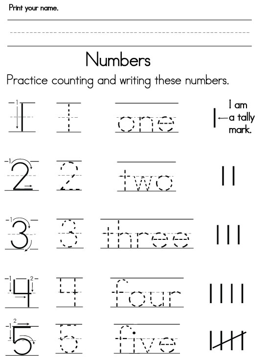 Worksheets About Numbers For Kindergarten