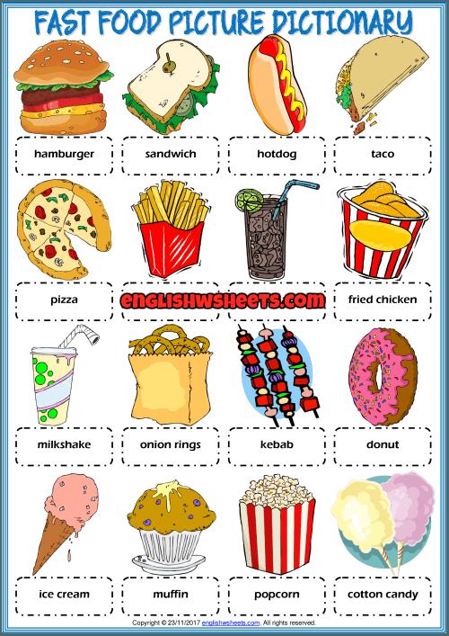 Fast Food Picture Dictionary Esl Printable Worksheet