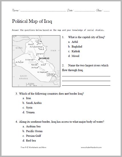 Iraq Political Map Worksheet