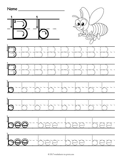 Free Printable Tracing Letter B Worksheet