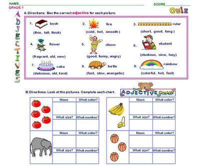 Adjectives Worksheets For Esl Kids