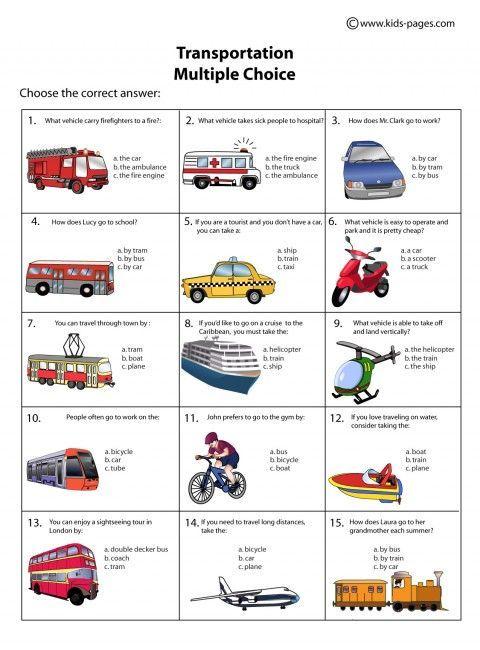 Transportation Multiple Choice Worksheets
