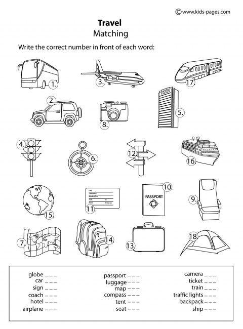 Travel B&w Worksheets