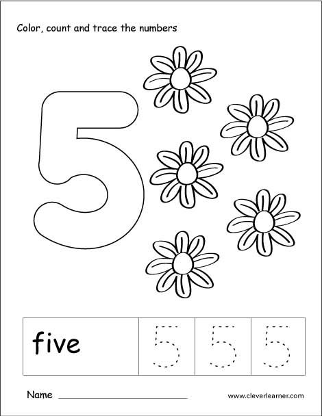 Number 5 Tracing And Colouring Worksheet For Kindergarten