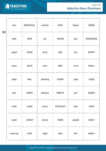 Adjectives Activities Esl Games Worksheets
