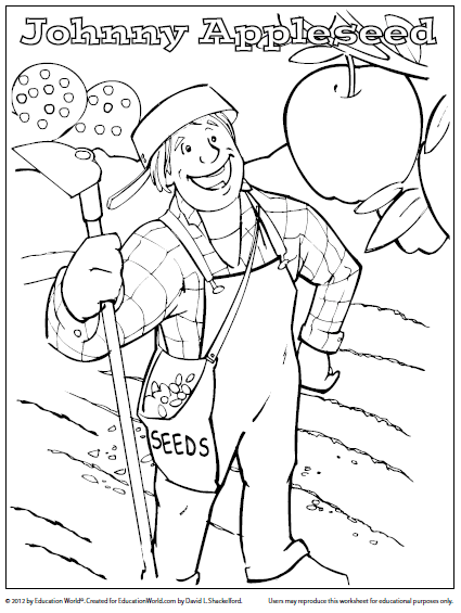 Coloring Sheet  Johnny Appleseed