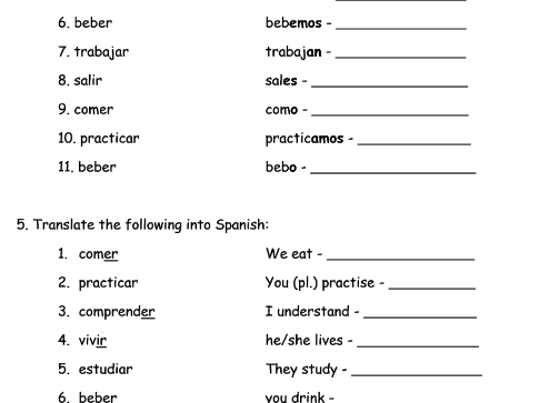 Worksheet For Present Spanish Tense Regular Verb Revision By